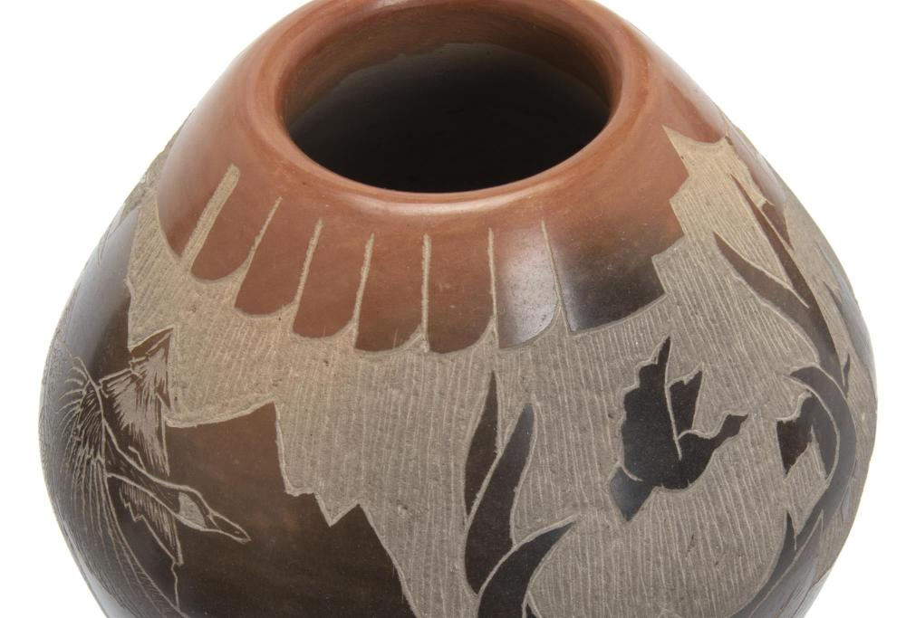 Eight Native American pottery vessels