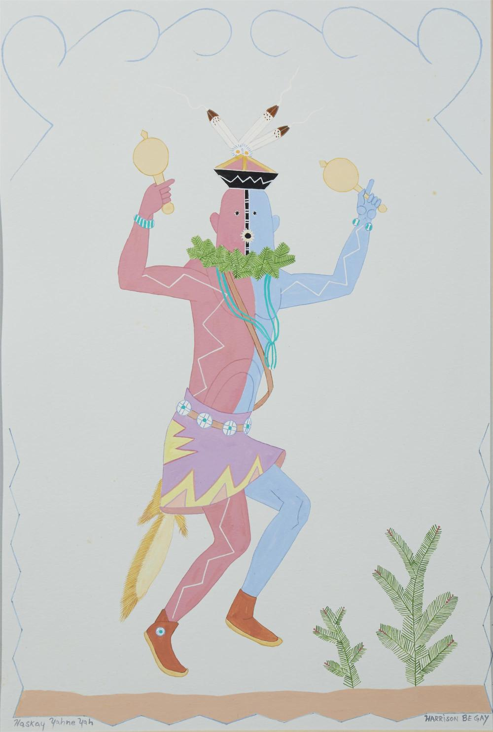 """Harrison (Haskay Yahne Yah) Begay, (1914-2012, American/Navajo), """"Indian dancer with rattles"""" and """"Indians galloping on horseback,"""" (tw"""