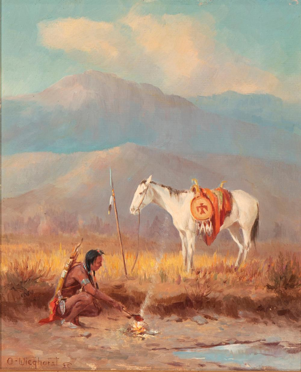 Olaf Wieghorst, (1899-1988, El Cajon, CA), Indian and horse, Oil on burlap laid to artist masonite, 12.5