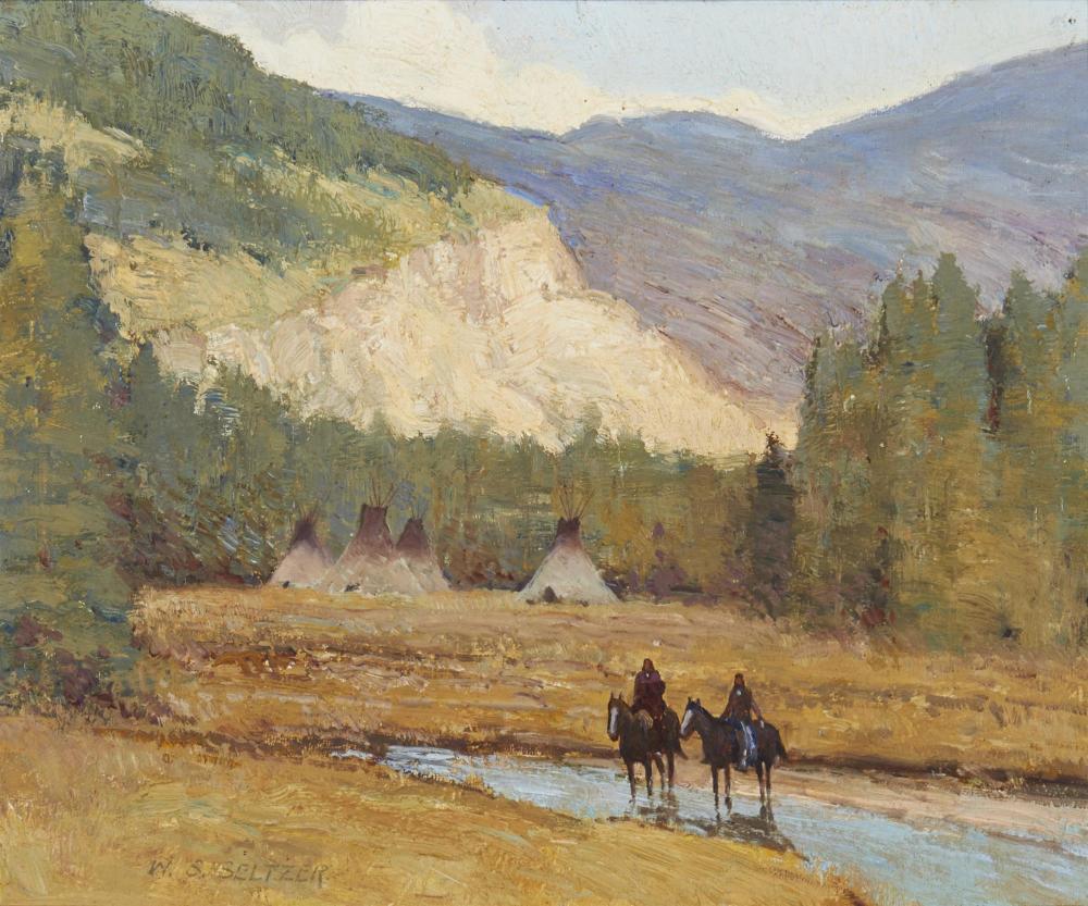 "William Steve Seltzer, (b. 1955, American), ""Indian Camp"", Oil on board, 10"" H x 12"" W"