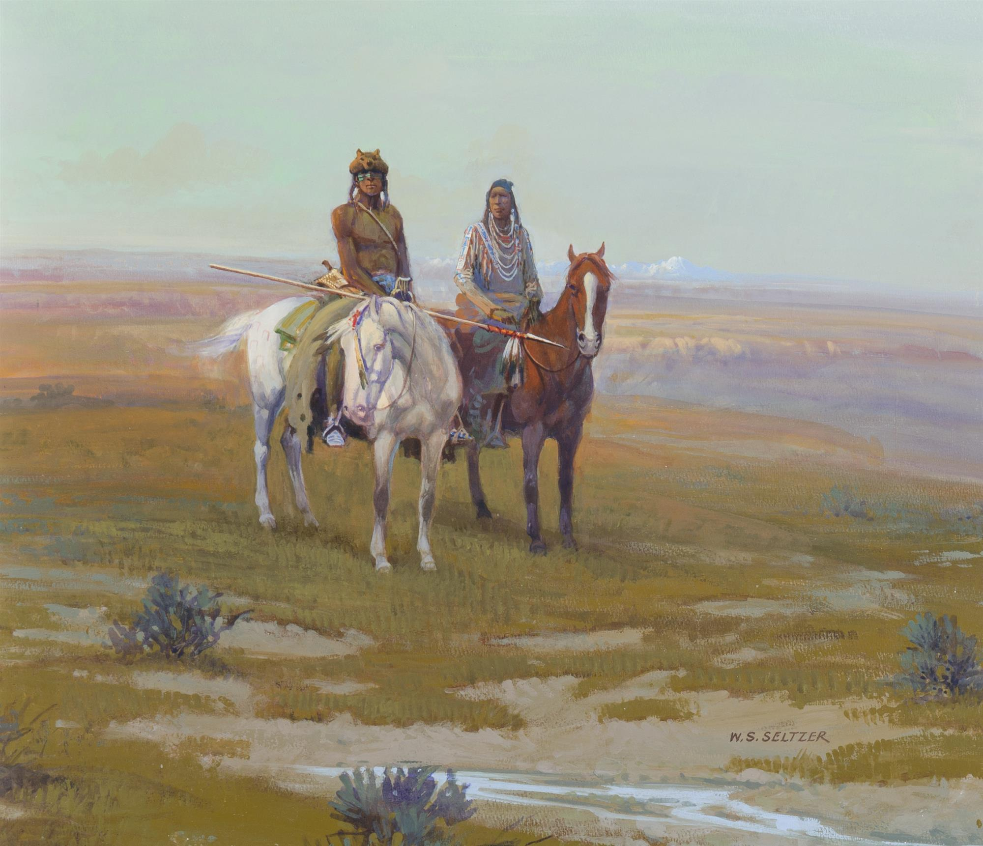 "William Steve Seltzer, (b. 1955, American), Indians at sunset, Gouache on Strathmore Artist's board under Plexiglas , 16"" H x 18"" W"
