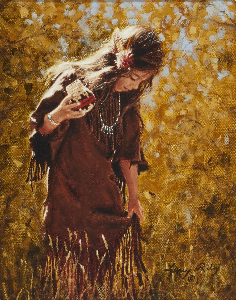 "Larry Riley, (b. 1947, American), ""Buckskin Dress,"", Oil on canvas, 10"" H x 8"" W"