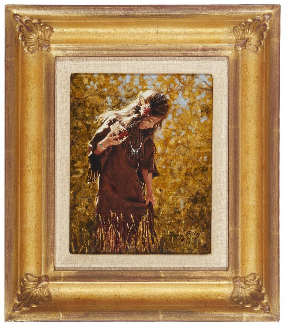 """Larry Riley, (b. 1947, American), """"Buckskin Dress,"""", Oil on canvas, 10"""