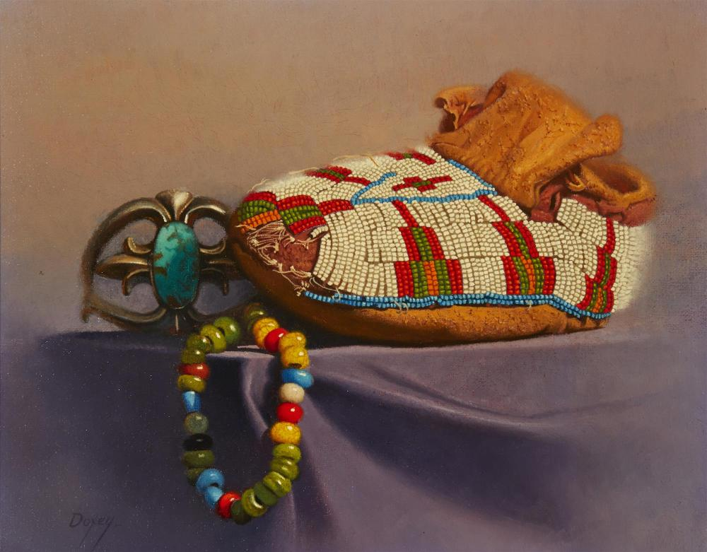 """Don Doxey, (b. 1928, Ogden, UT), """"Beads and Bracelets"""", Oil on canvas , 8"""" H x 10"""" W"""