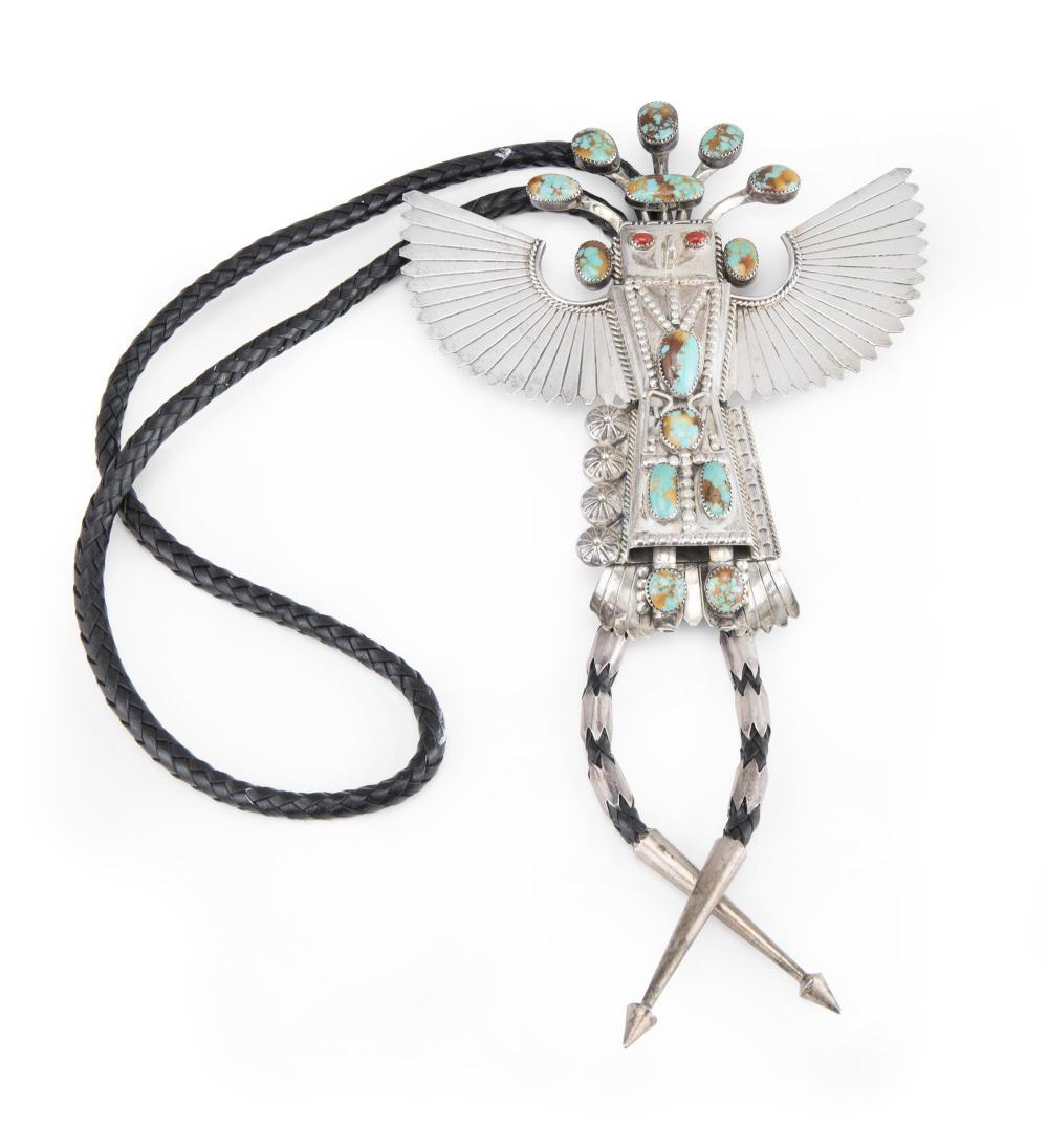 A Hopi Jerry Roan sterling silver kachina bolo tie