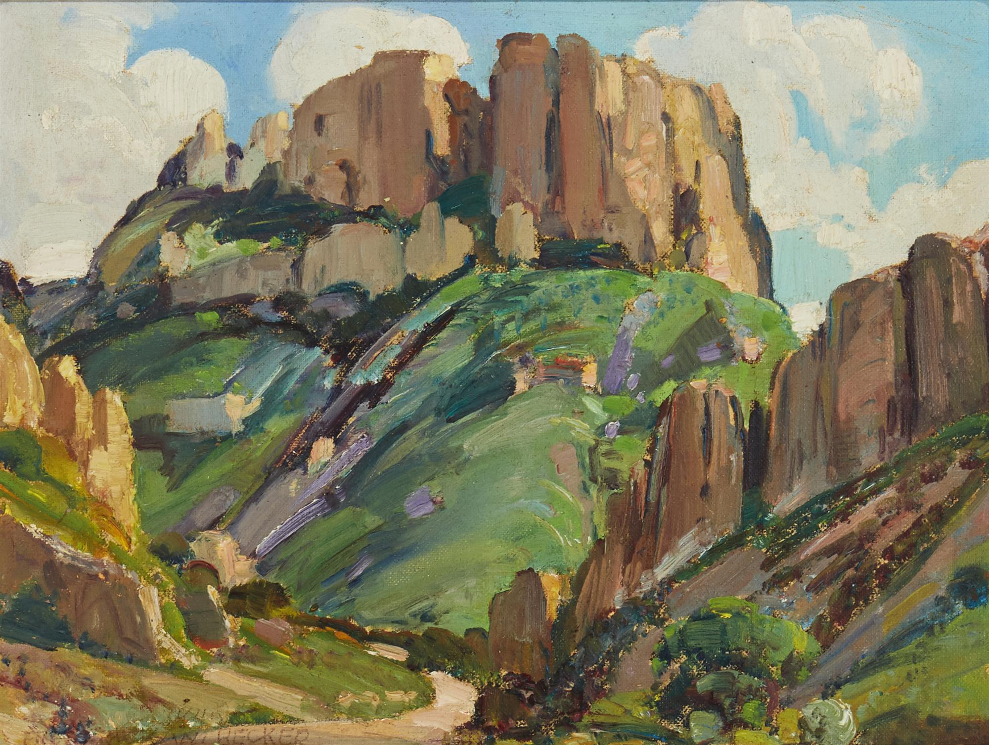 "Frederick William Becker, (1888-1974, Palm Springs, CA), ""Casa Grande,"" 1940, Oil on panel, 9"" H x 12"" W"