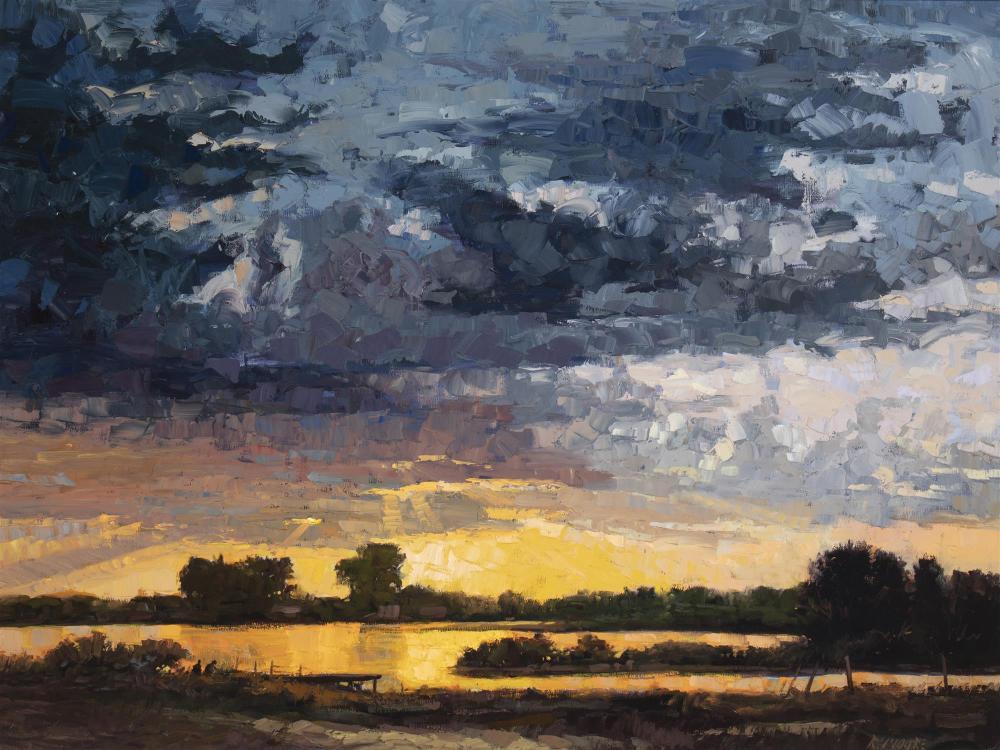 "Robert Moore, (b. 1957, Idaho), ""Snake River Sunset,"" 1994, Oil on canvas, 36"" H x 48"" W"