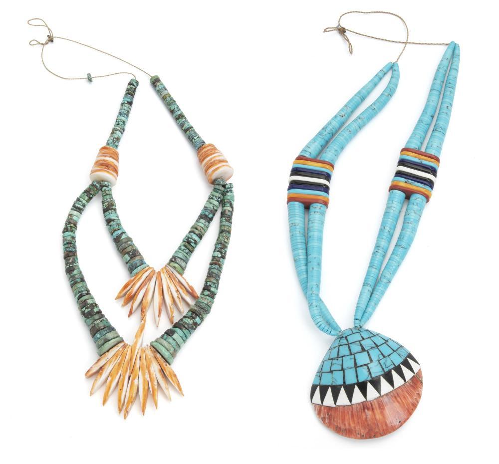 Two Santa Domingo Pueblo necklaces