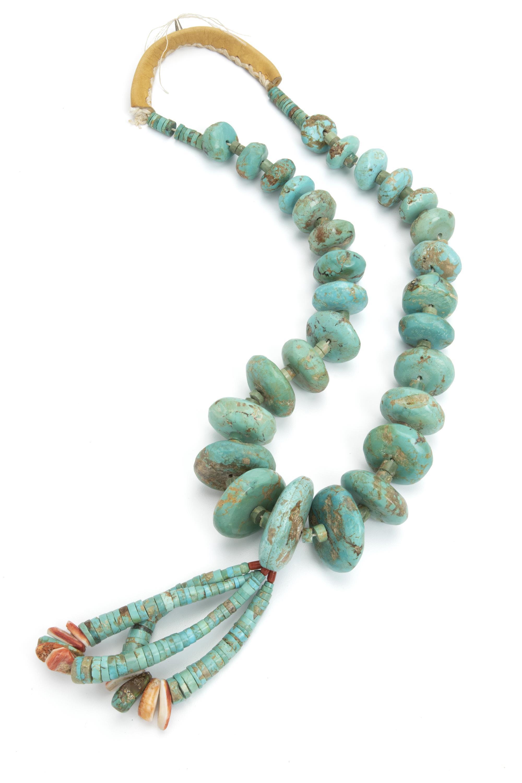 A large Pueblo turquoise necklace