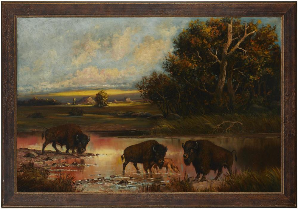 Henry Herman Cross, (1837-1918, Buffalo in a river landscape, Oil on canvas, 30