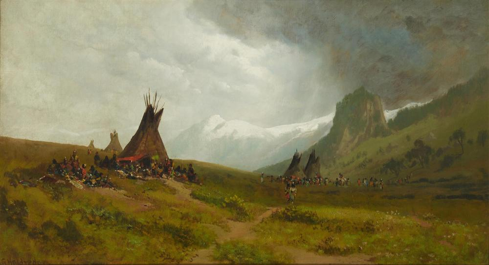 Ransome Gillet Holdredge, (1836-1899, San Francisco, CA), Indian camp with mountains in the distance, Oil on canvas laid to waxed canva