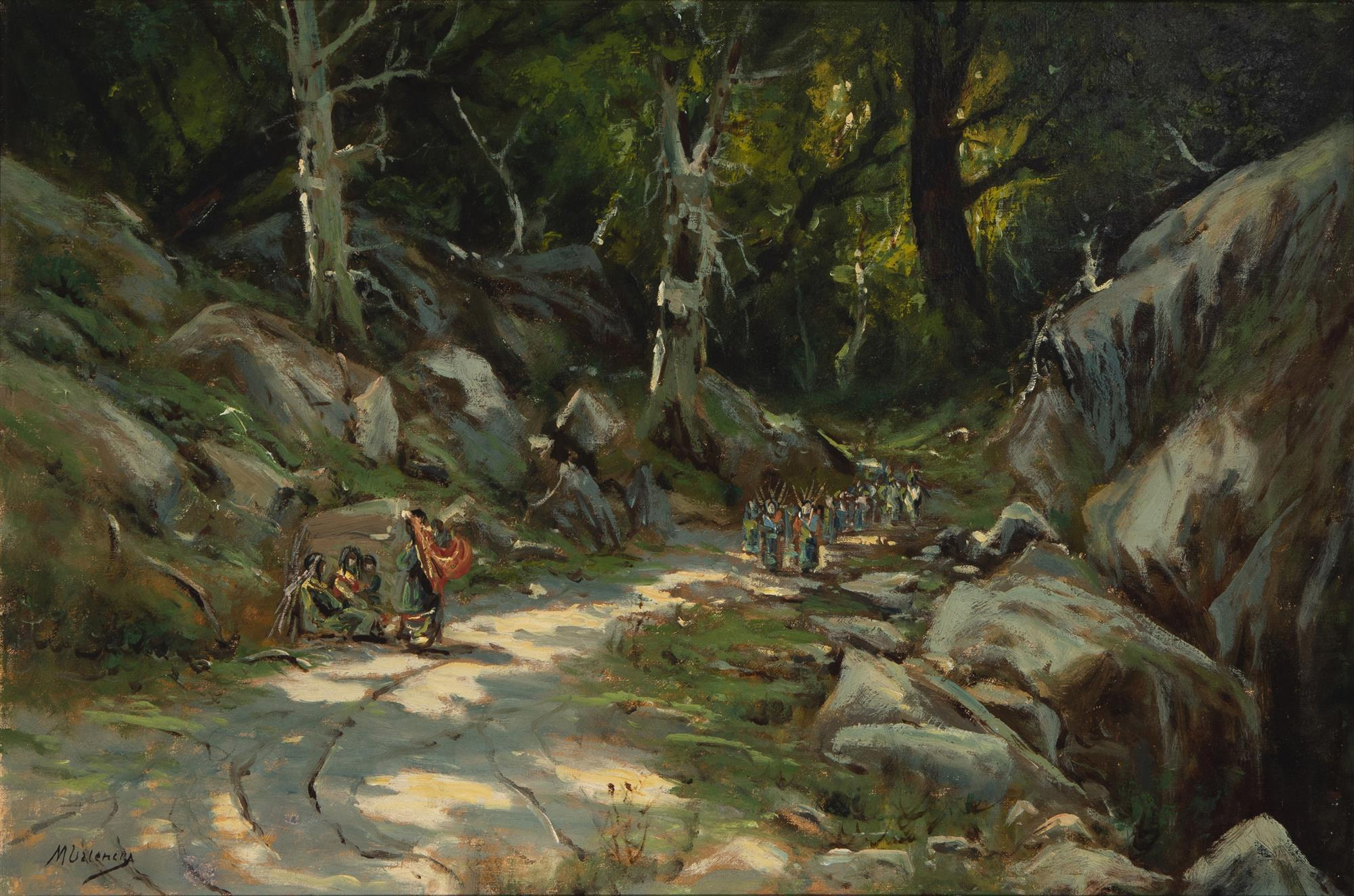 "Manuel Valencia, (1865-1935, Sacramento, CA), Indians on a wooded path, Oil on canvas, 20"" H x 30"" W"