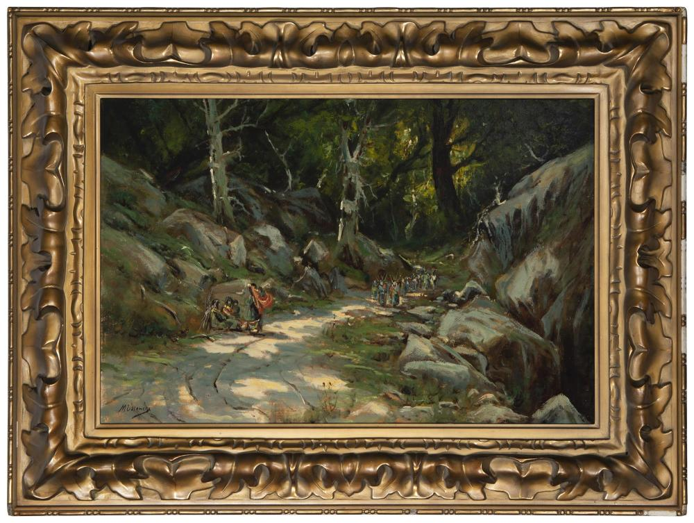 Manuel Valencia, (1865-1935, Sacramento, CA), Indians on a wooded path, Oil on canvas, 20