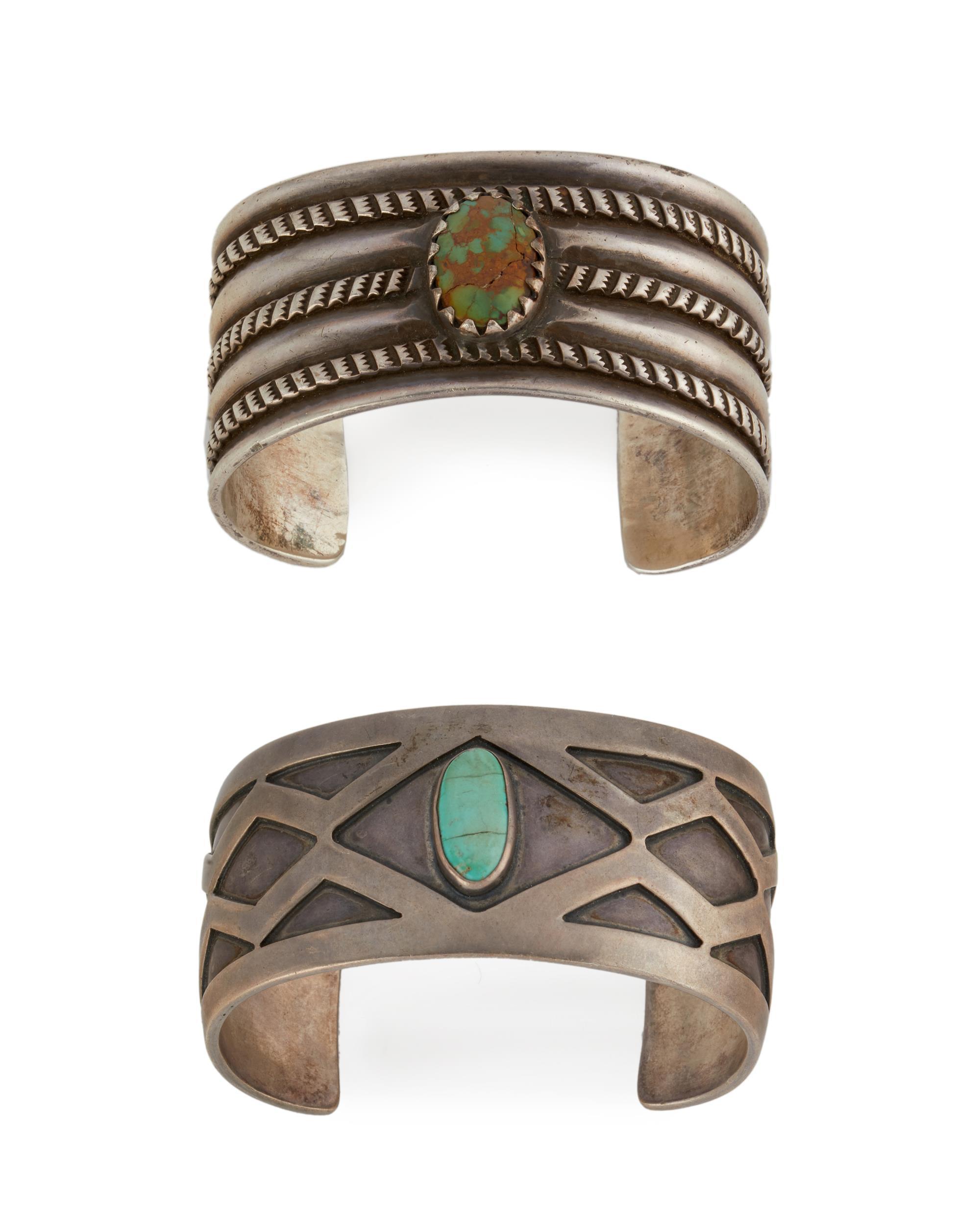 Two silver cuff bracelets