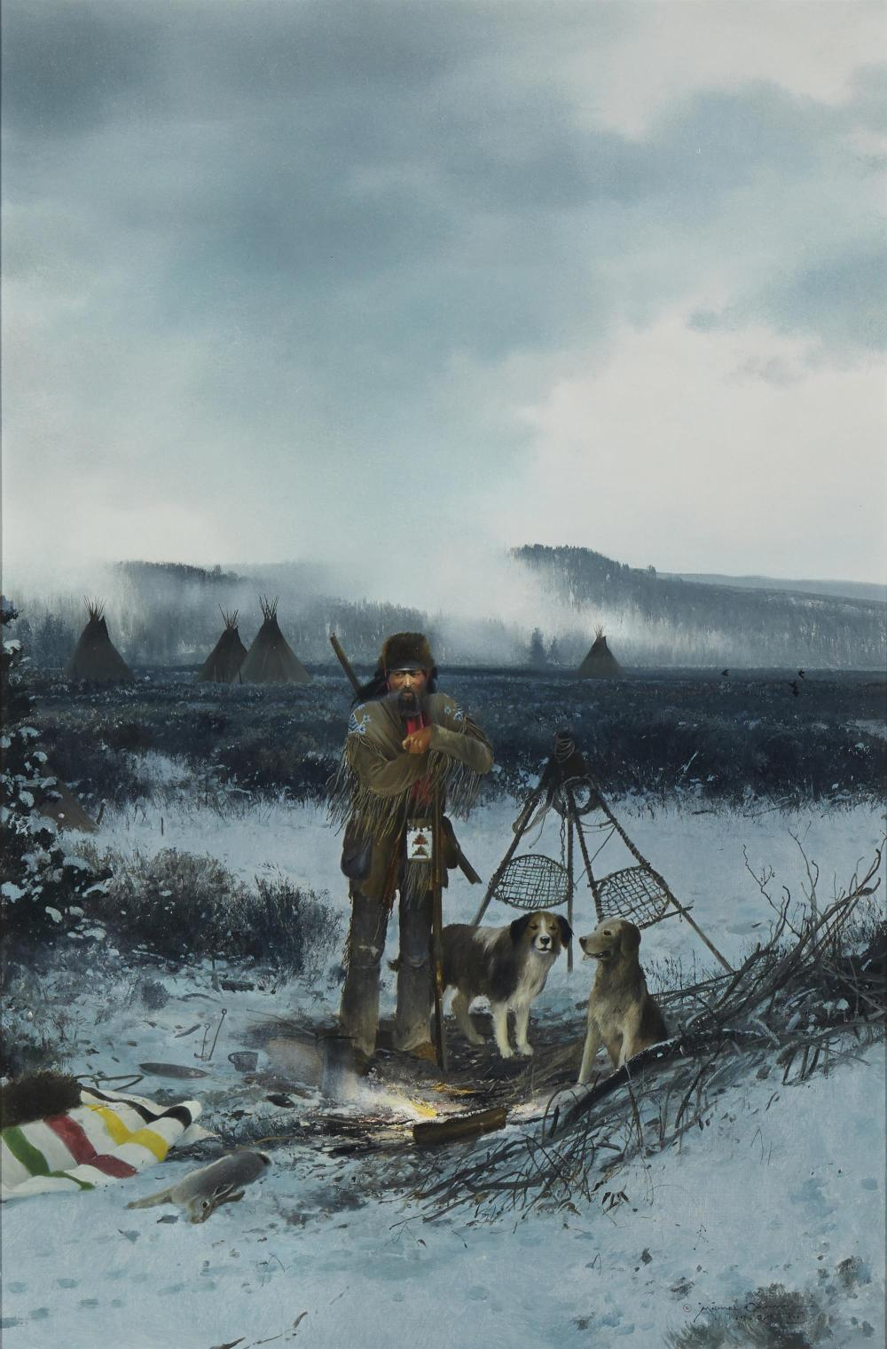 """Michael Coleman, (b. 1946, Provo, UT), """"Passing Time on the Yellowstone,"""" 1980, Oil on masonite, 30"""" H x 20"""" W"""