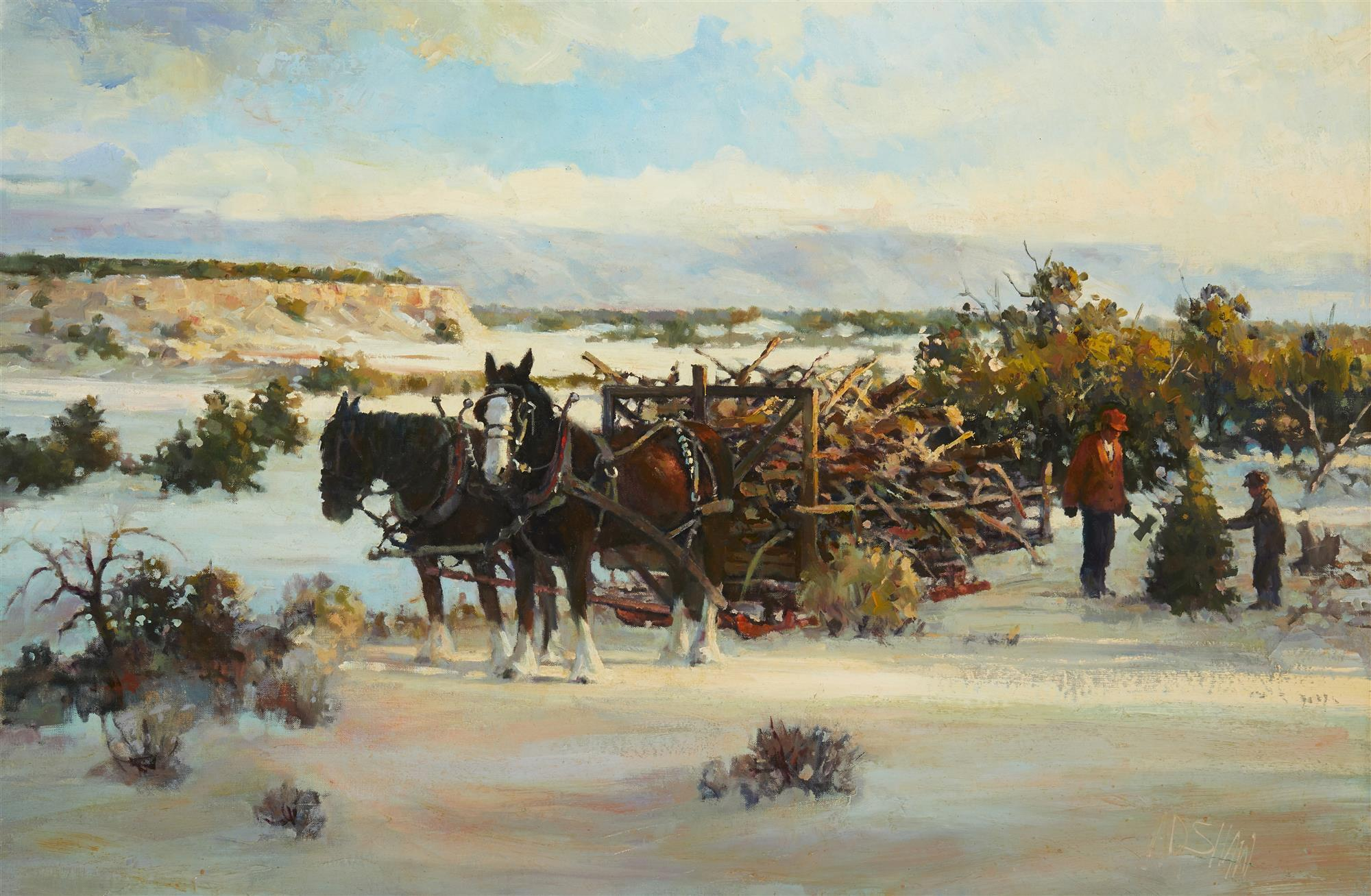 """Arch Shaw, (b. 1933, Utah), Tree cutting in the winter, Oil on canvas laid to board, 24"""" H x 36"""" W"""