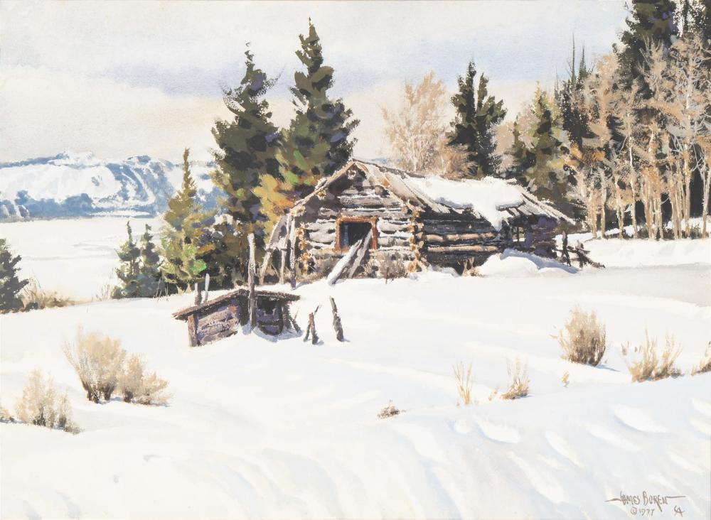 """James Erwin Boren, (1921-1990, Clifton, TX), """"Winter in Wyoming"""", Watercolor on paper under glass, Sight: 21.25"""" H x 29.25"""" W; Sheet: 2"""