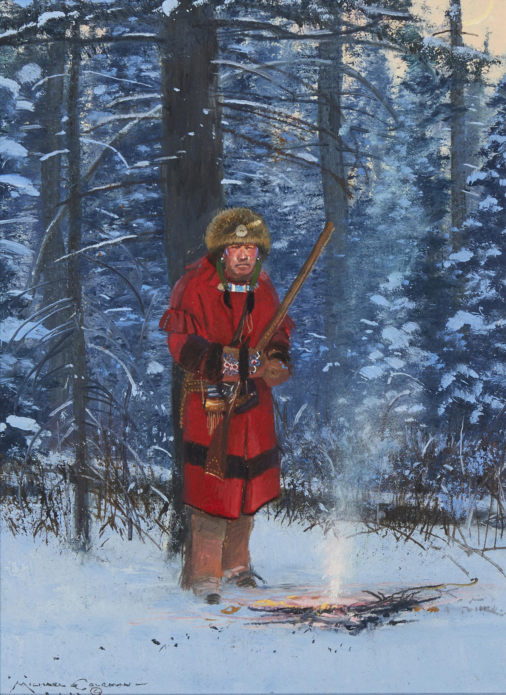 """Michael Coleman, (b. 1946, Provo, UT), """"Untitled: Indian by Campfire"""", Oil on canvas laid to foamboard, 12"""" H x 9"""" W"""