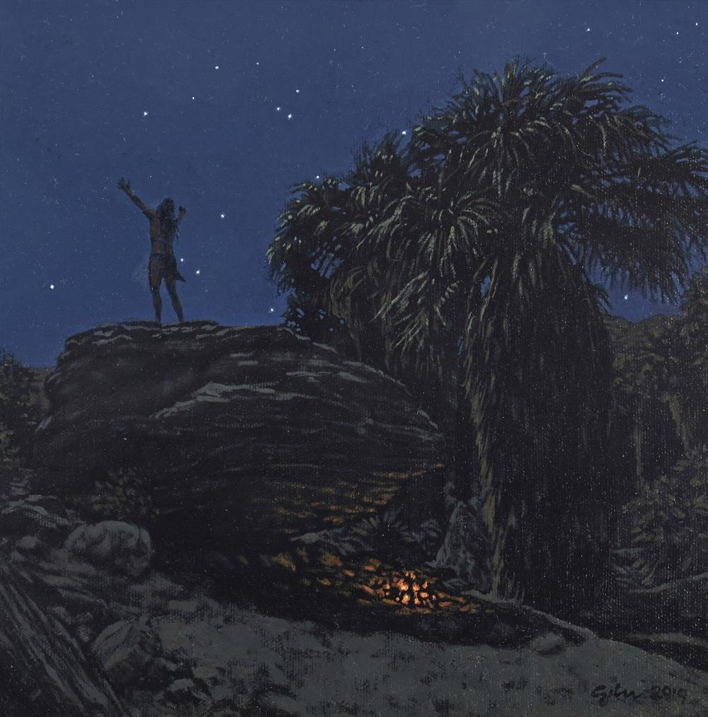 "Bradley W. Giles, (b. 1967, American), ""Nocturne Vision Quest,"" 2019, Oil on canvas, 10"" H x 10"" W"