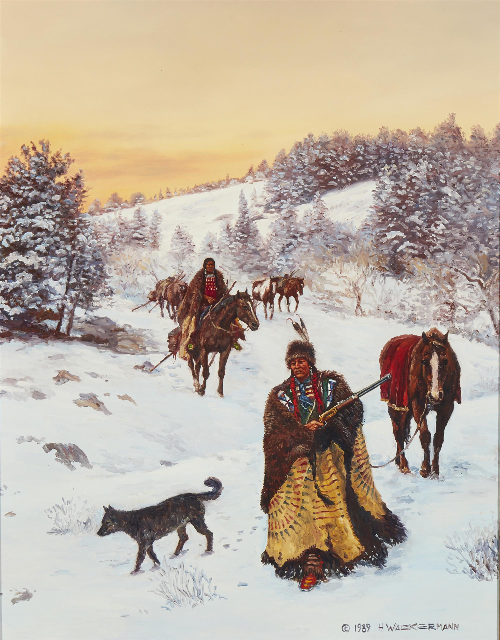 """Hubert Wackermann, (b. 1945, Rio Rancho, NM), Indians in a winter landscape, 1989, Oil on board, 18"""" H x 14"""" W"""