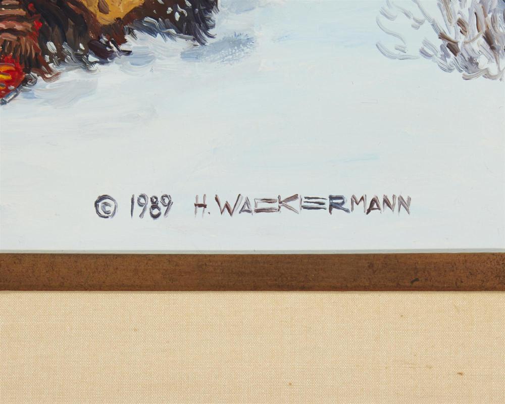 Hubert Wackermann, (b. 1945, Rio Rancho, NM), Indians in a winter landscape, 1989, Oil on board, 18