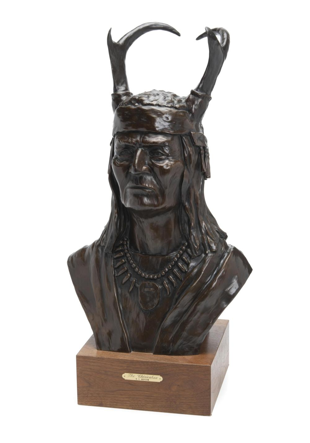 "Robert L. Refvem, (b. 1933, American), ""The Chiricahua,"" 1983, Patinated bronze on wood base, Overall: 27.75"" H x 15"" W x 10"" D"