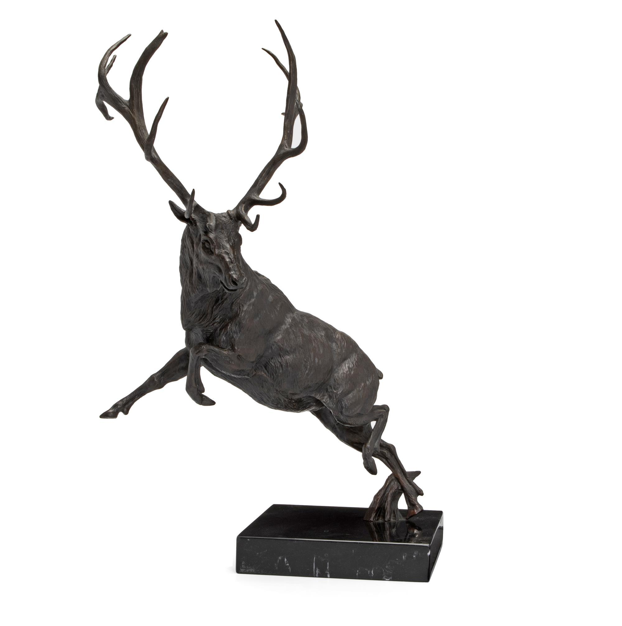 "David Schaefer, (1949 - 2012, American), Elk, Bronze on marble base, Overall: 28"" H x 19.5"" W x 16.5"" D"