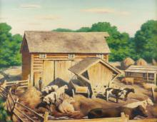 """James Ormsbee Chapin, (1887-1975, New York, NY), Cows in a barnyard, 1924, Oil on canvas laid to canvas, 20"""" H x 26"""" W"""