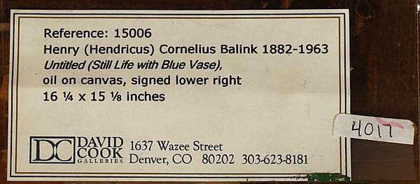 Henry C. Balink (1882-1963 Santa Fe, NM)