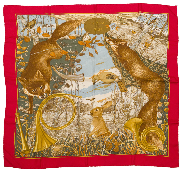 """An Hermès """"Chasse au Bois"""" silk scarf"""