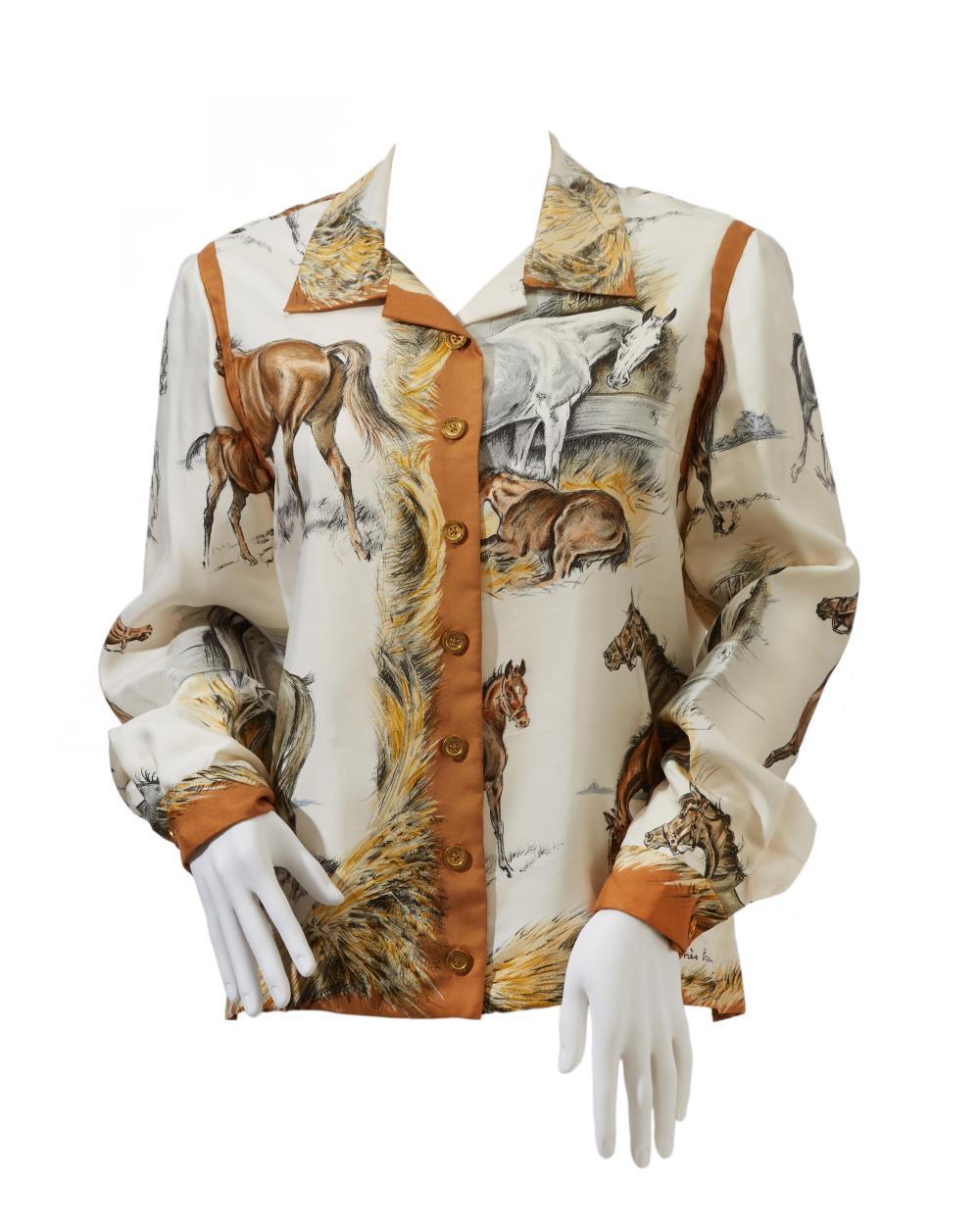 "An Hermès ""Les Poulains"" silk blouse"