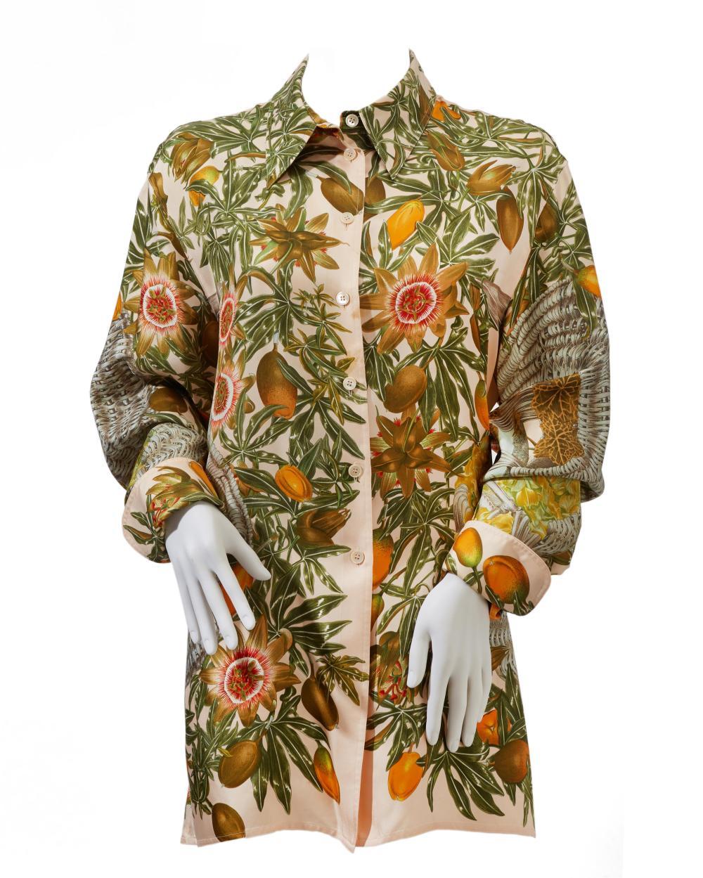 "An Hermès ""Passiflores"" silk blouse"