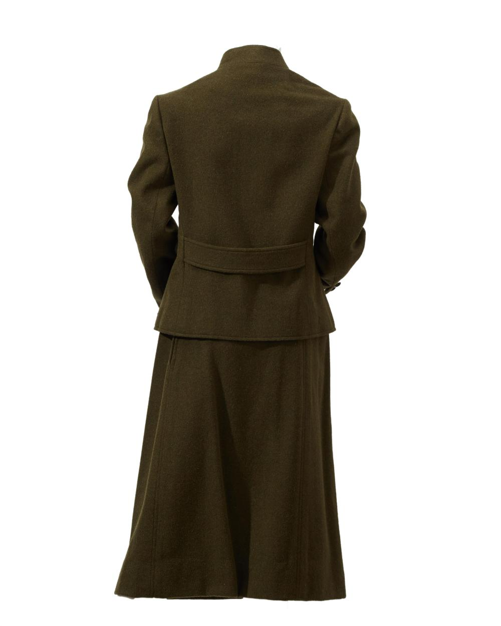 A Givenchy green wool skirt suit