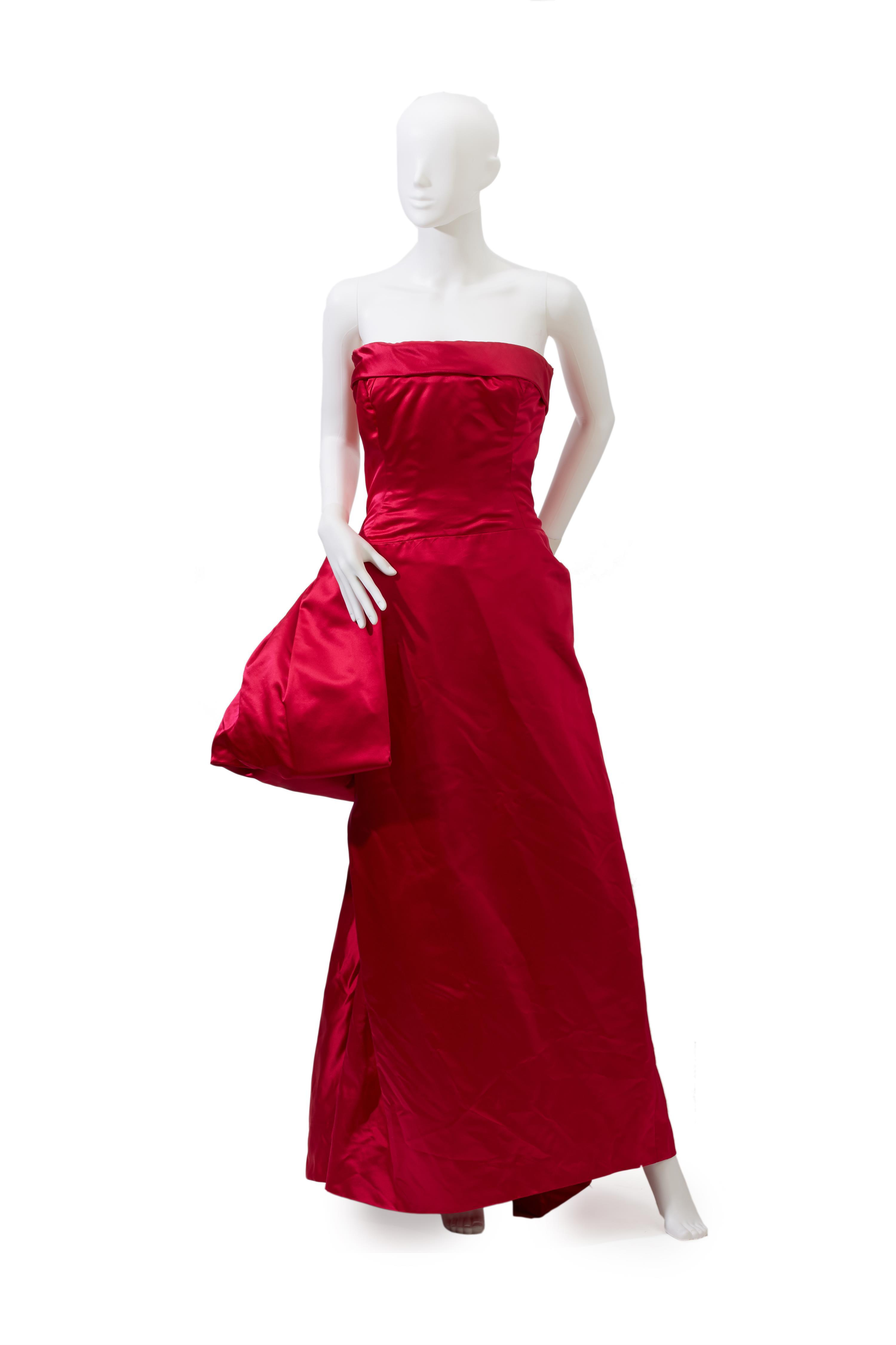 A Christian Dior New York strapless evening gown
