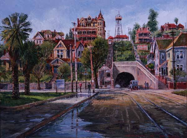 """Ben Abril (1923-1995 Los Angeles, CA) """"The Third Street Tunnel at 3rd and Hill St"""" (""""Showing the Observation Tower and The Crocker Mansion at the Top"""