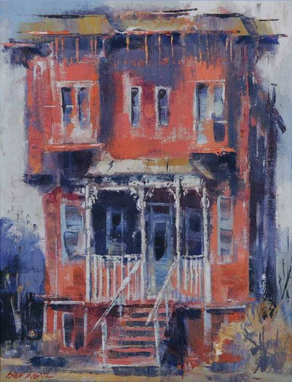 """Ben Abril (1923-1995 Los Angeles, CA) """"The Red House"""" titled on stretcher bar s l/l: Ben Abril o/c 18x14 est: $2500/3500 Provenance: residence,"""