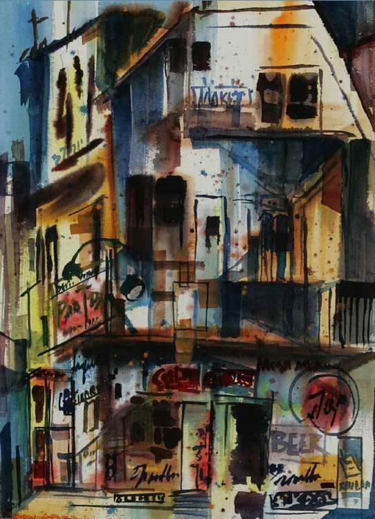 """Ben Abril (1923-1995 Los Angeles, CA) """"Chinatown"""" s l/l: Ben Abril w/c on/p under glass sight: 29x21 est:$2500/3500"""