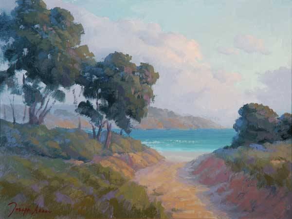 "Joseph Aaron (1959 - * Santa Barbara, CA) ""Santa Barbara Coastline"" titled verso s l/l: Joseph Aaron o/wood/p 12x16 est:$900/1400"