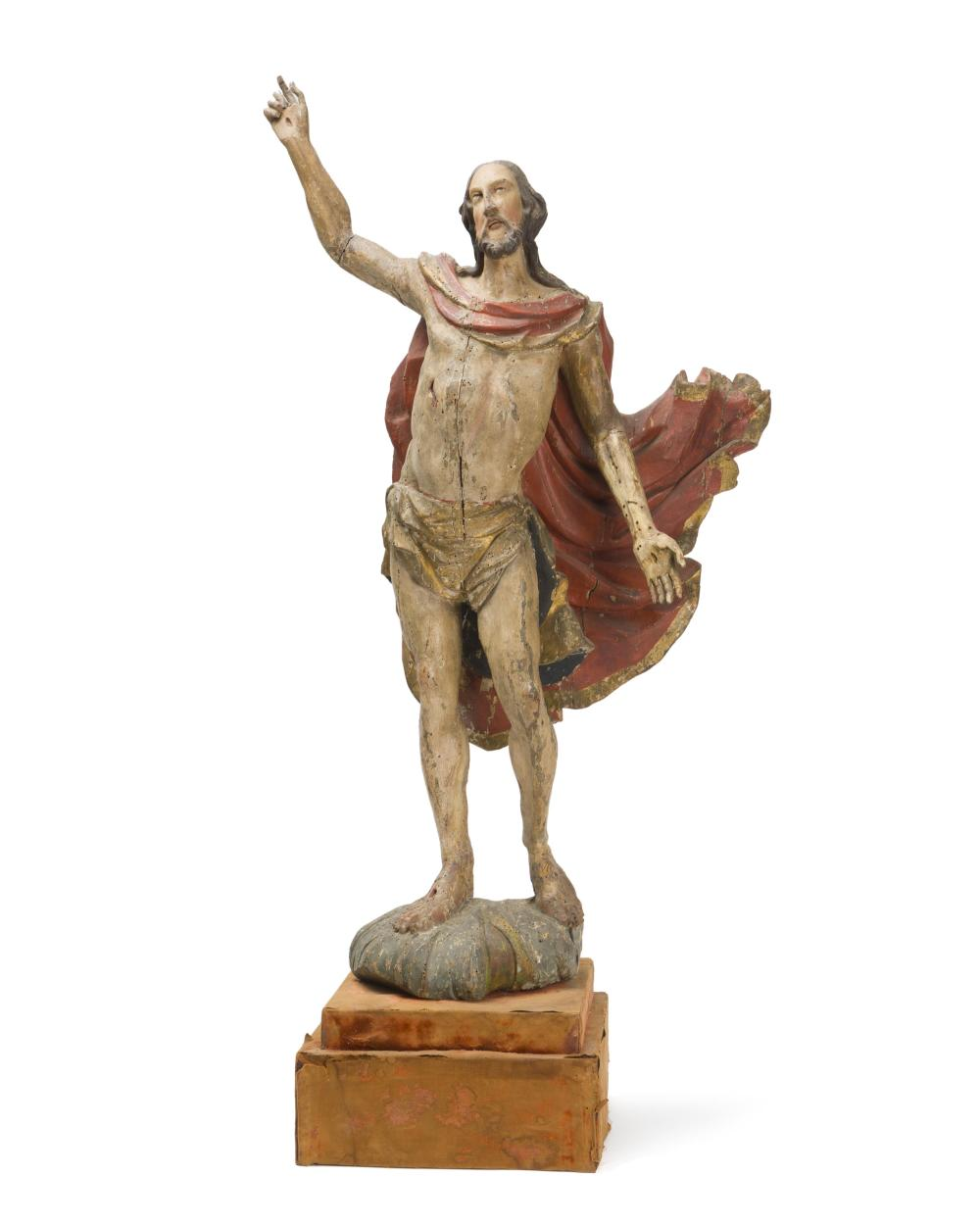 A Continental carved wood figure of Christ as the Man of Sorrows
