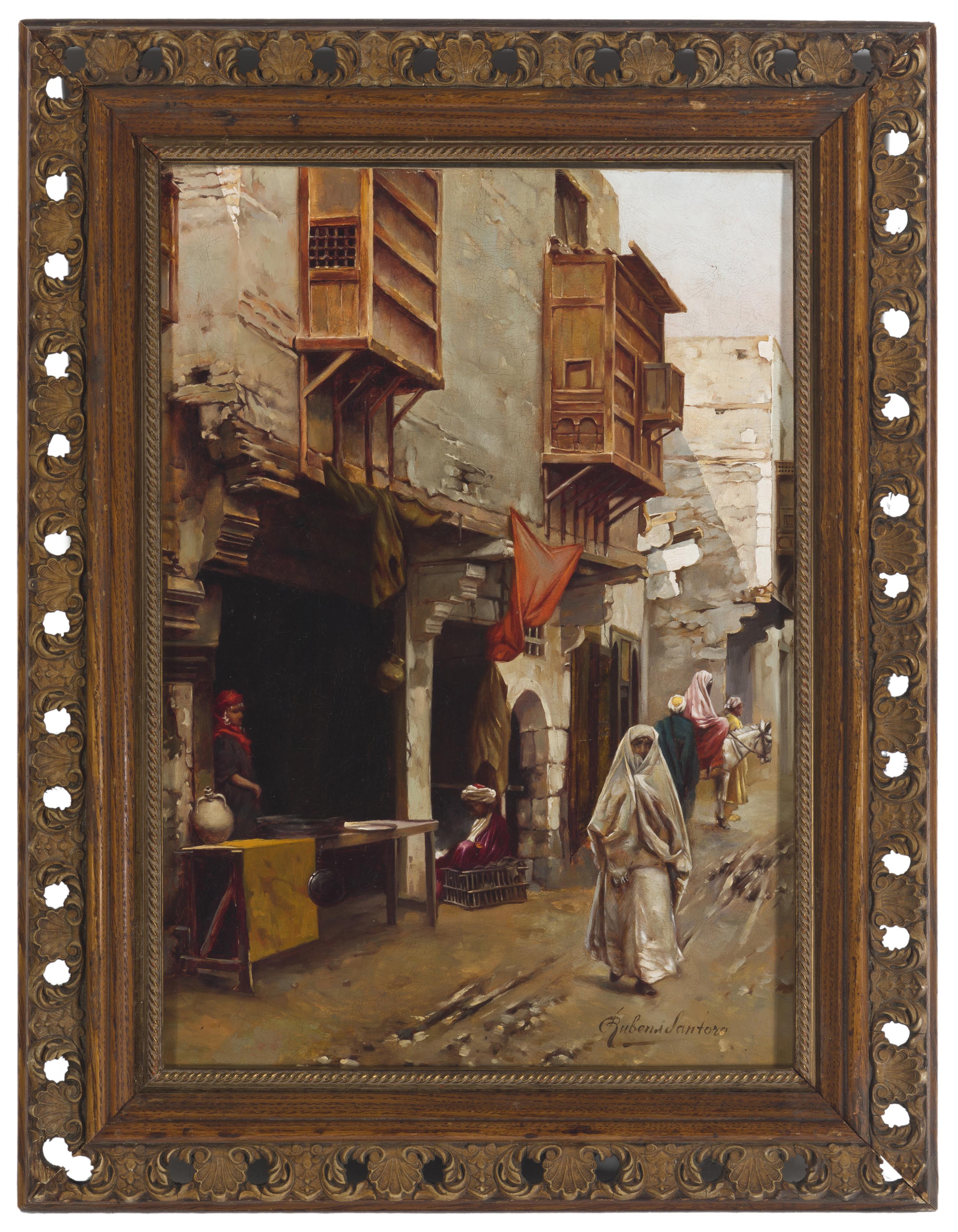 """Rubens Santoro, (1859-1942 Italian), Middle Eastern street scene, Oil on canvas, 15.5"""" H x 11.5"""" W"""