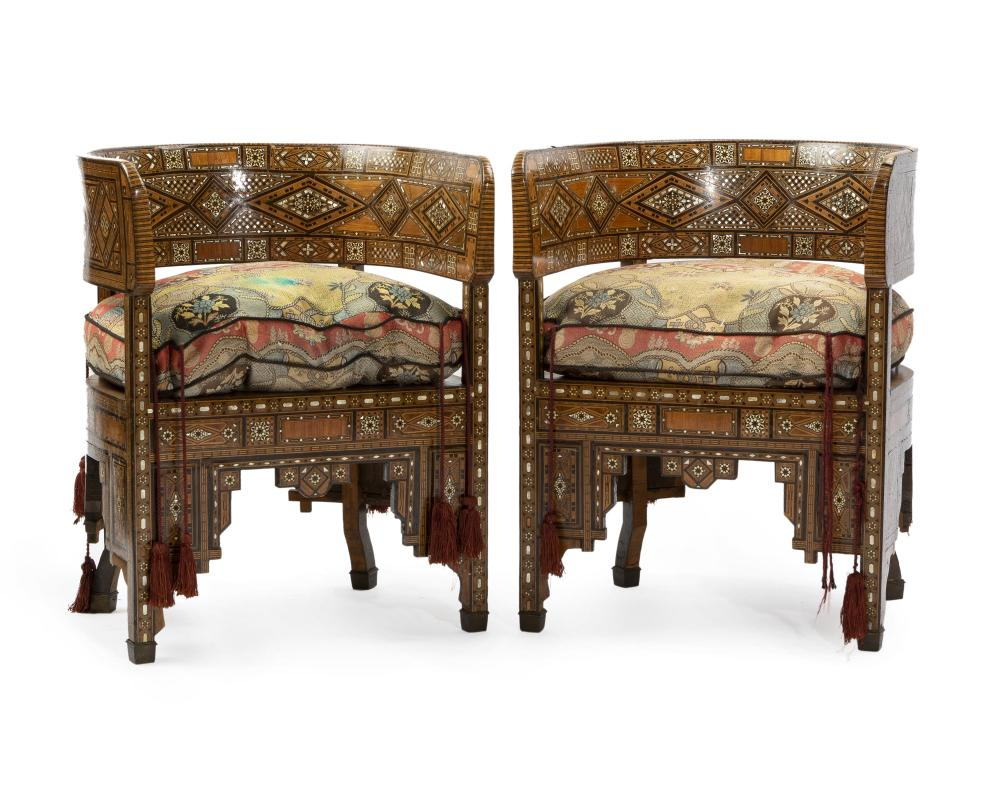A pair of Syrian parquetry barrel chairs
