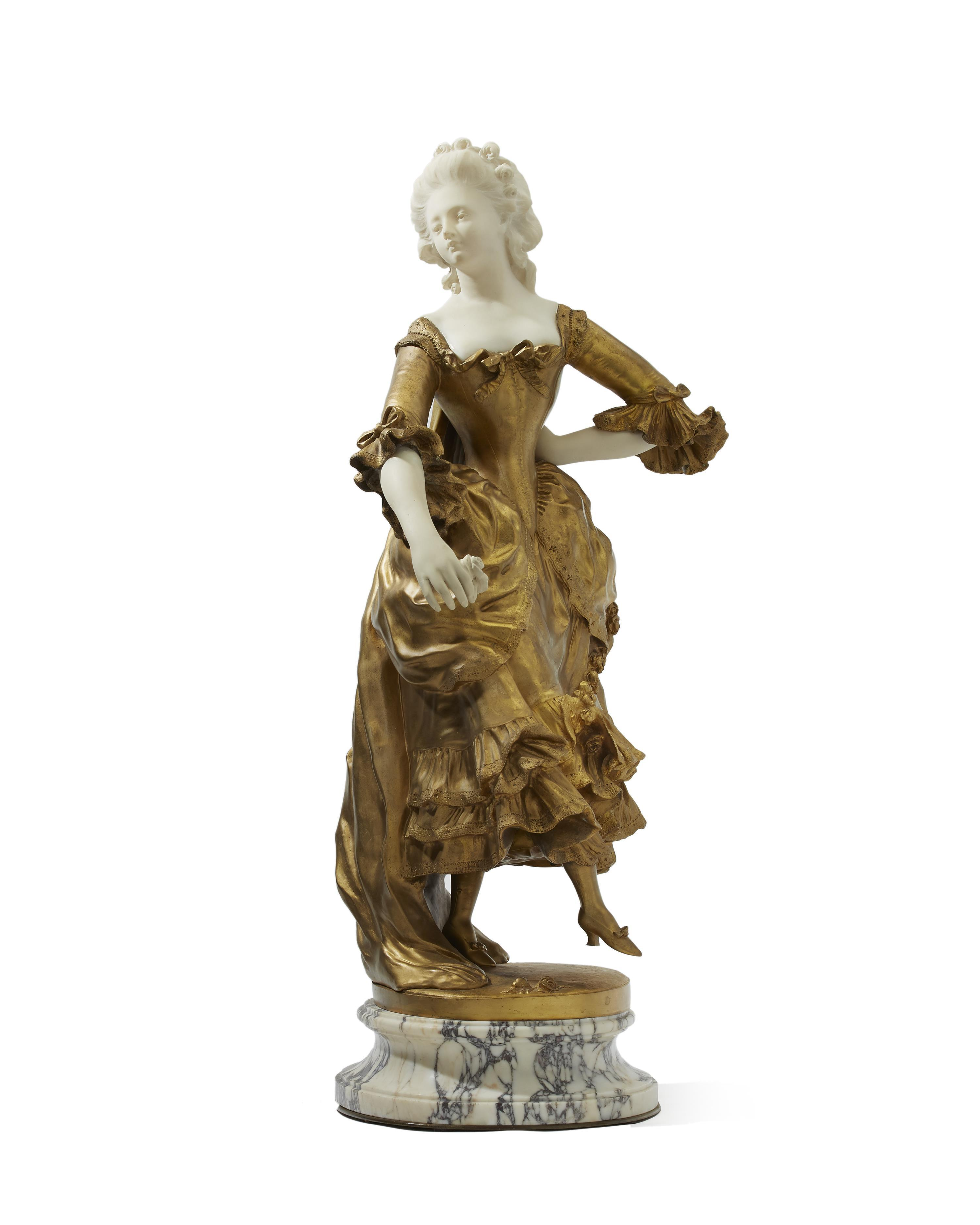 "Affortunato (Fortunato) Gory, (1895-1925 Italian/French), Dancing 18th-century woman, Gilt-bronze and alabaster on marble plinth, 28"" H"