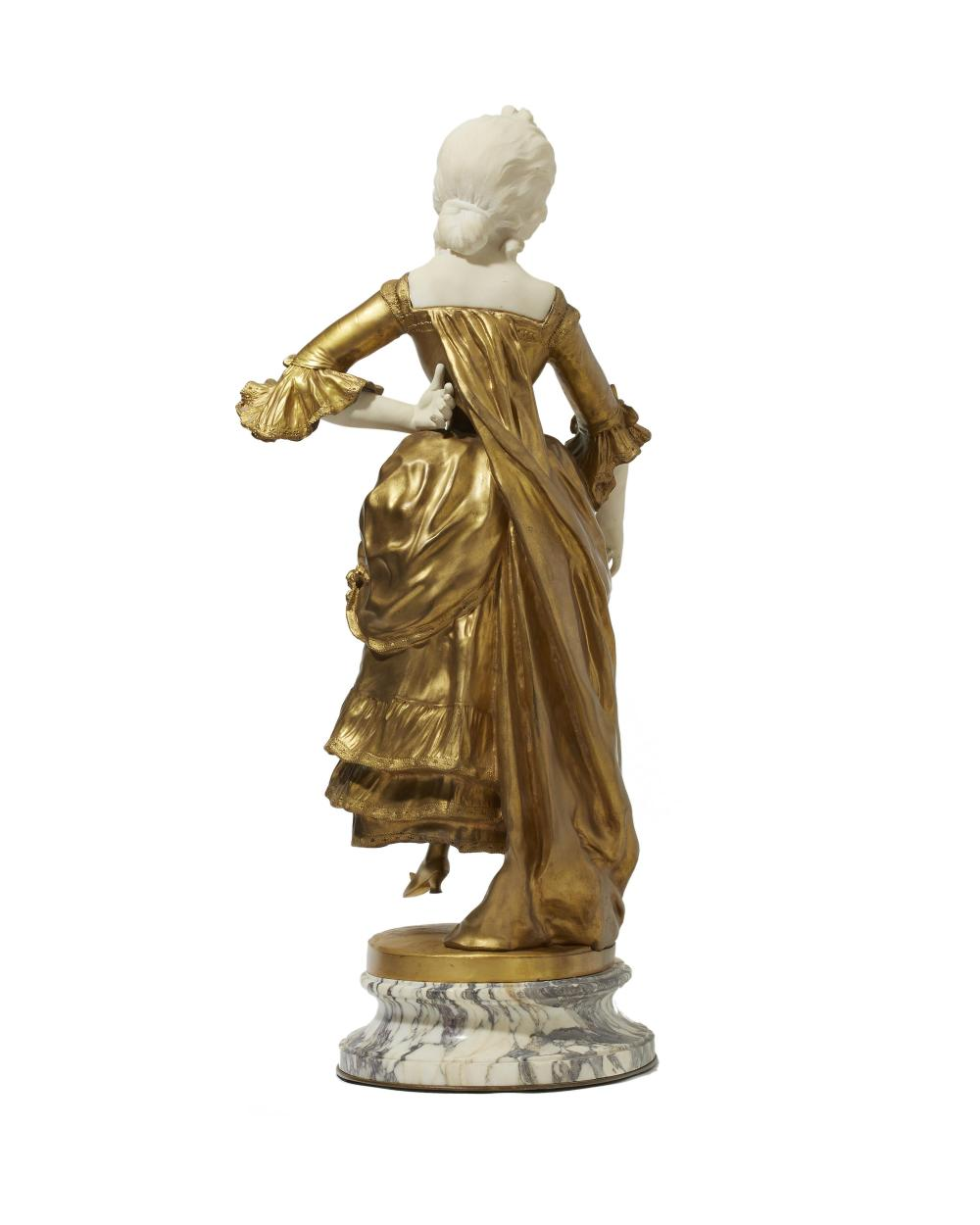 Affortunato (Fortunato) Gory, (1895-1925 Italian/French), Dancing 18th-century woman, Gilt-bronze and alabaster on marble plinth, 28