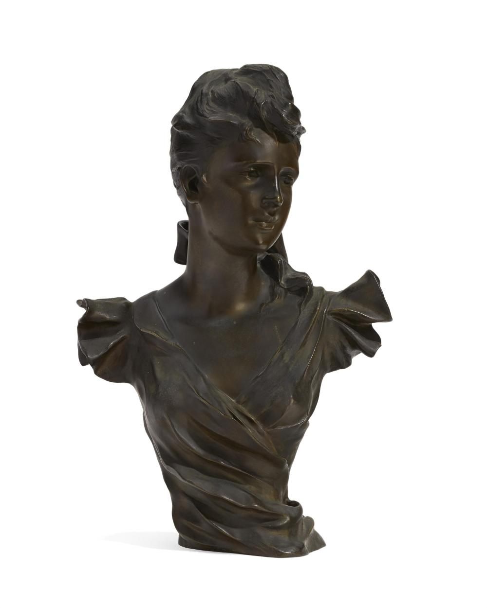 """After George Charles Coudray, (1883-1932 French), Bust of a woman, Patinated bronze, 20.25"""" H x 14"""" W x 7.25"""" D"""