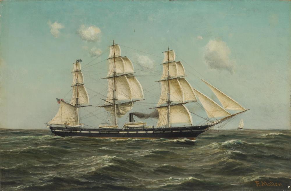 """Fritz Muller, (b. 1814-* German/American), """"Auxilliary Steam Frigate U.S.S. Franklin"""", Oil on canvas under Plexiglas, 20"""" H x 30"""" W"""