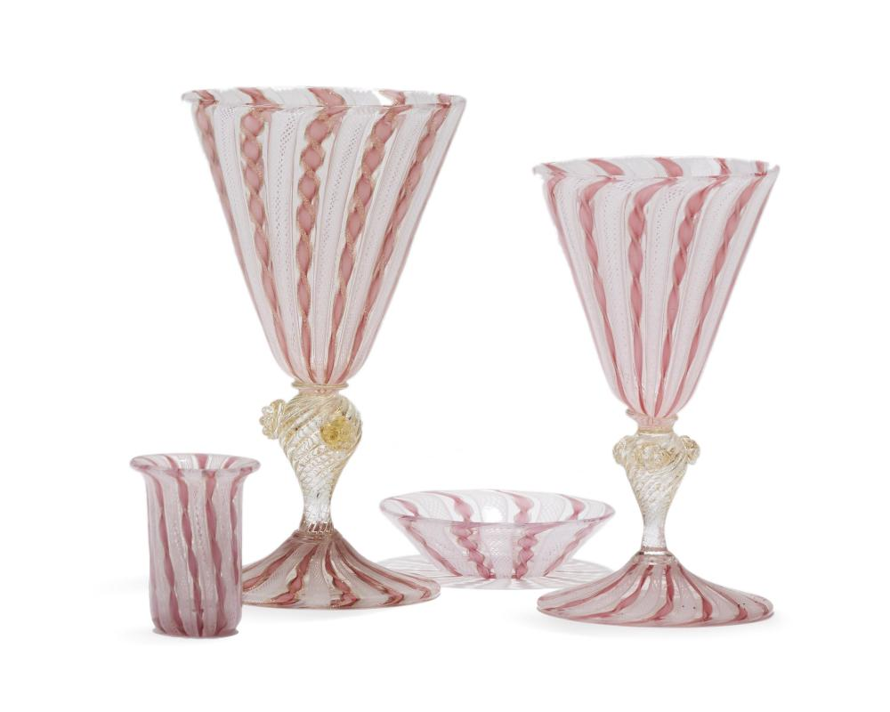 A partial set of Venetian stemware