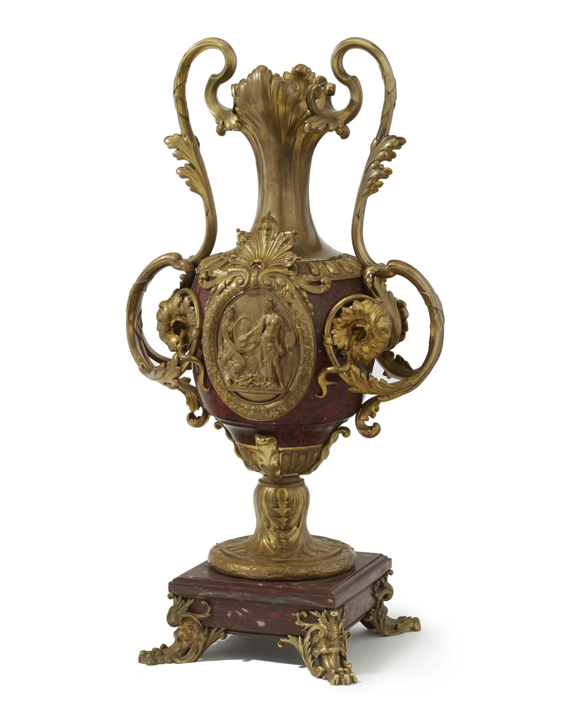 A French gilt-bronze rouge marble vase