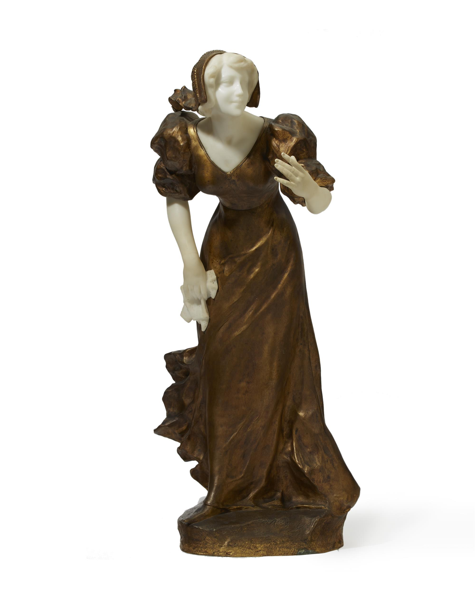 "Affortunato (Fortunato) Gory, (1895-1925 Italian/French), Walking lady, Gilt-bronze and alabaster, 27.5"" H x 14"" W x 11"" D"