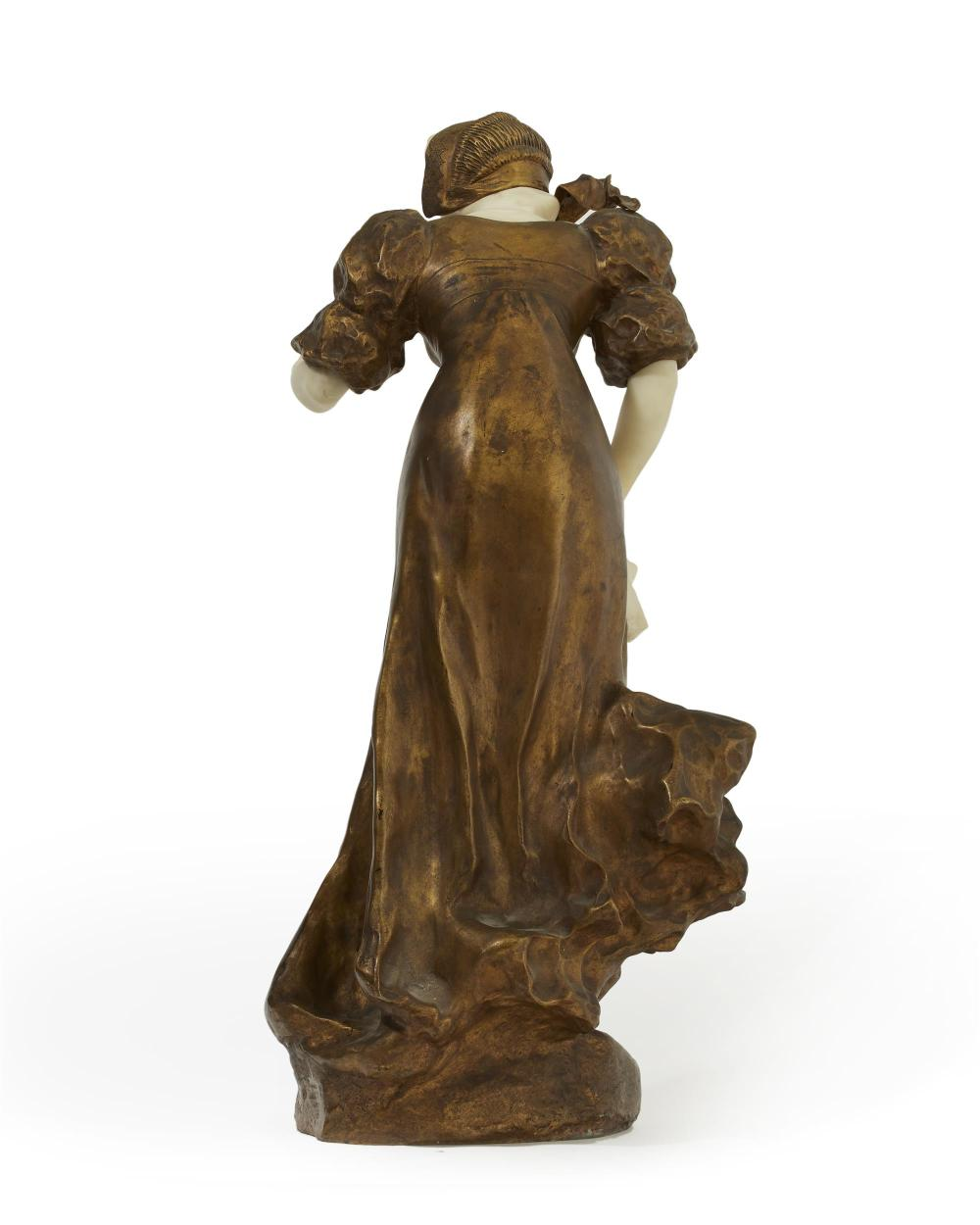 Affortunato (Fortunato) Gory, (1895-1925 Italian/French), Walking lady, Gilt-bronze and alabaster, 27.5
