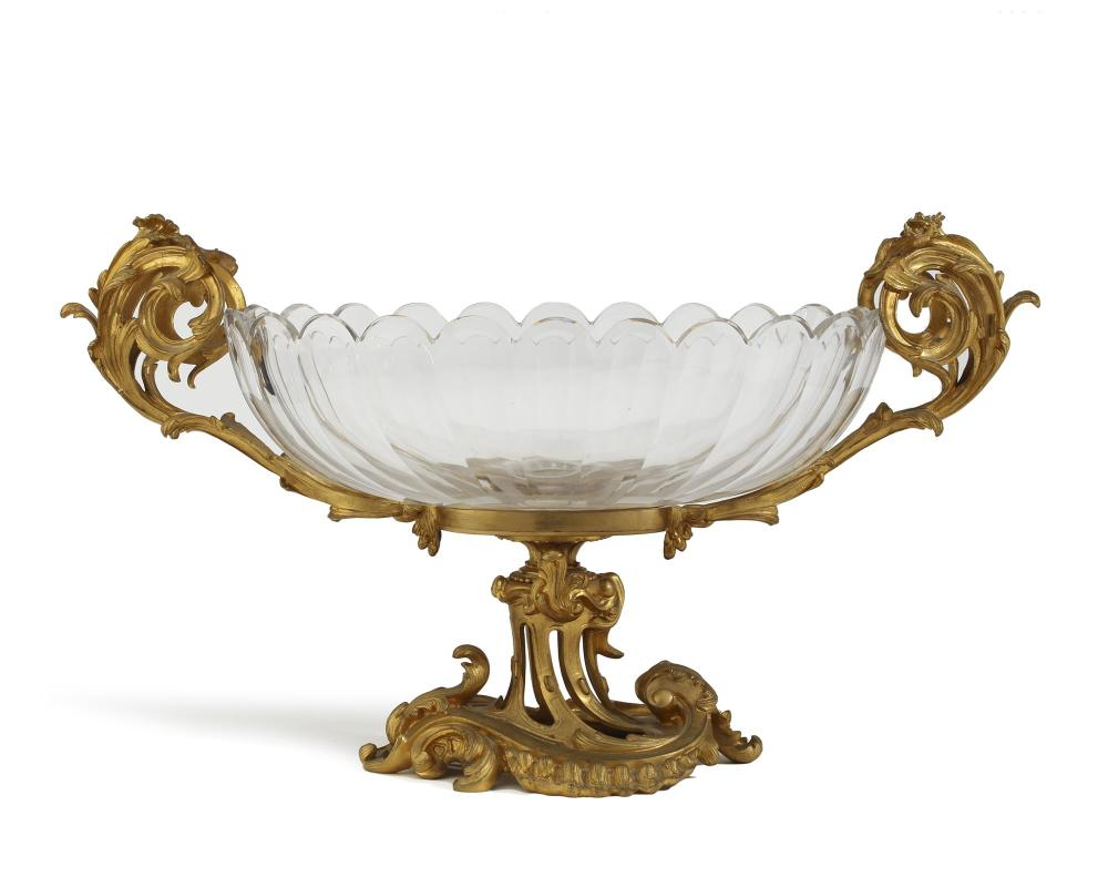 A Baccarat gilt-bronze and cut-crystal centerpiece